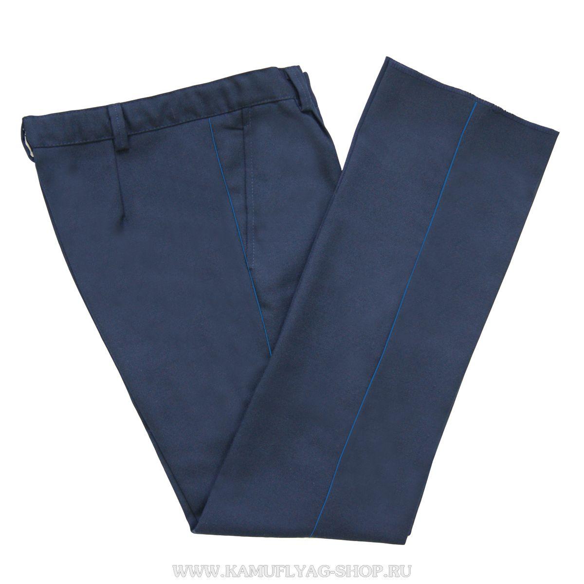 Брюки форменные синие с голубым кантом