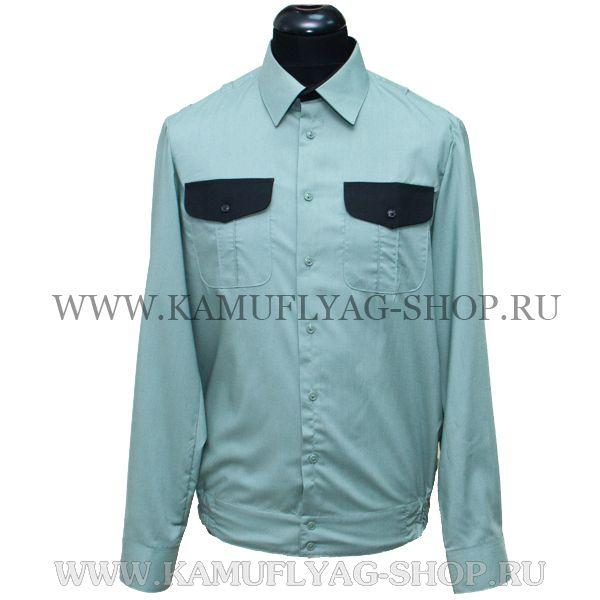 Рубашка форменная, олива, комбинированный