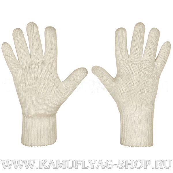 Перчатки двойной вязки белые