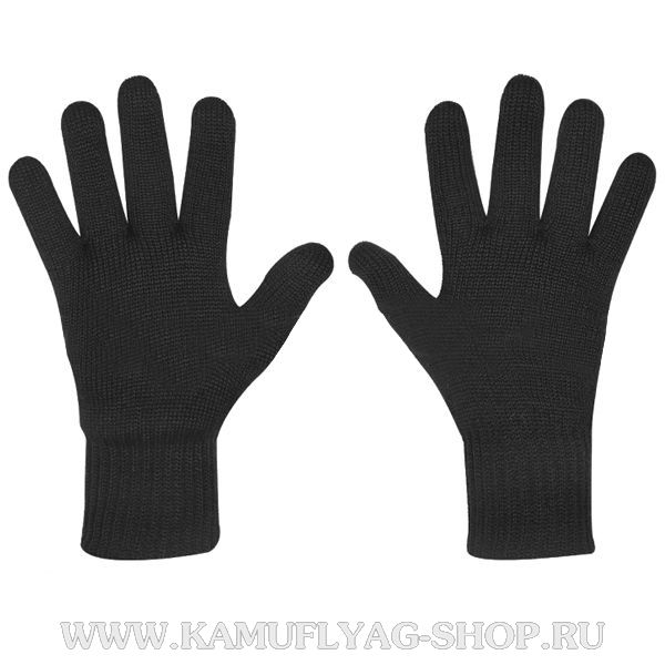 Перчатки двойной вязки черные