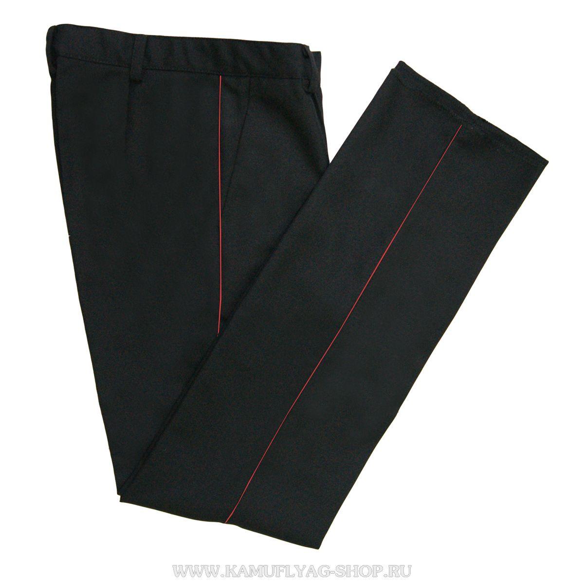 Брюки форменные черные с красным кантом
