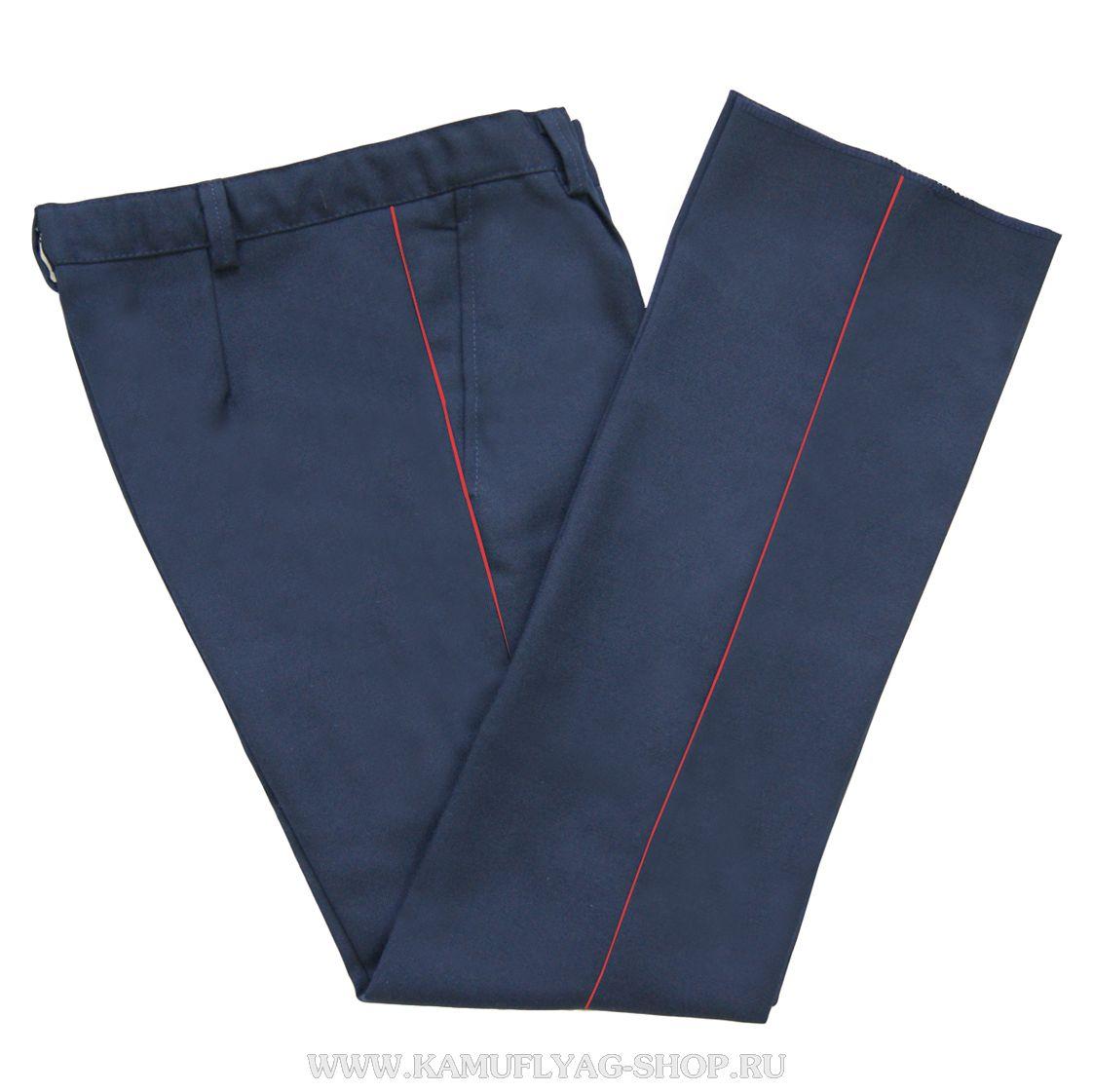 Брюки форменные синие с красным кантом