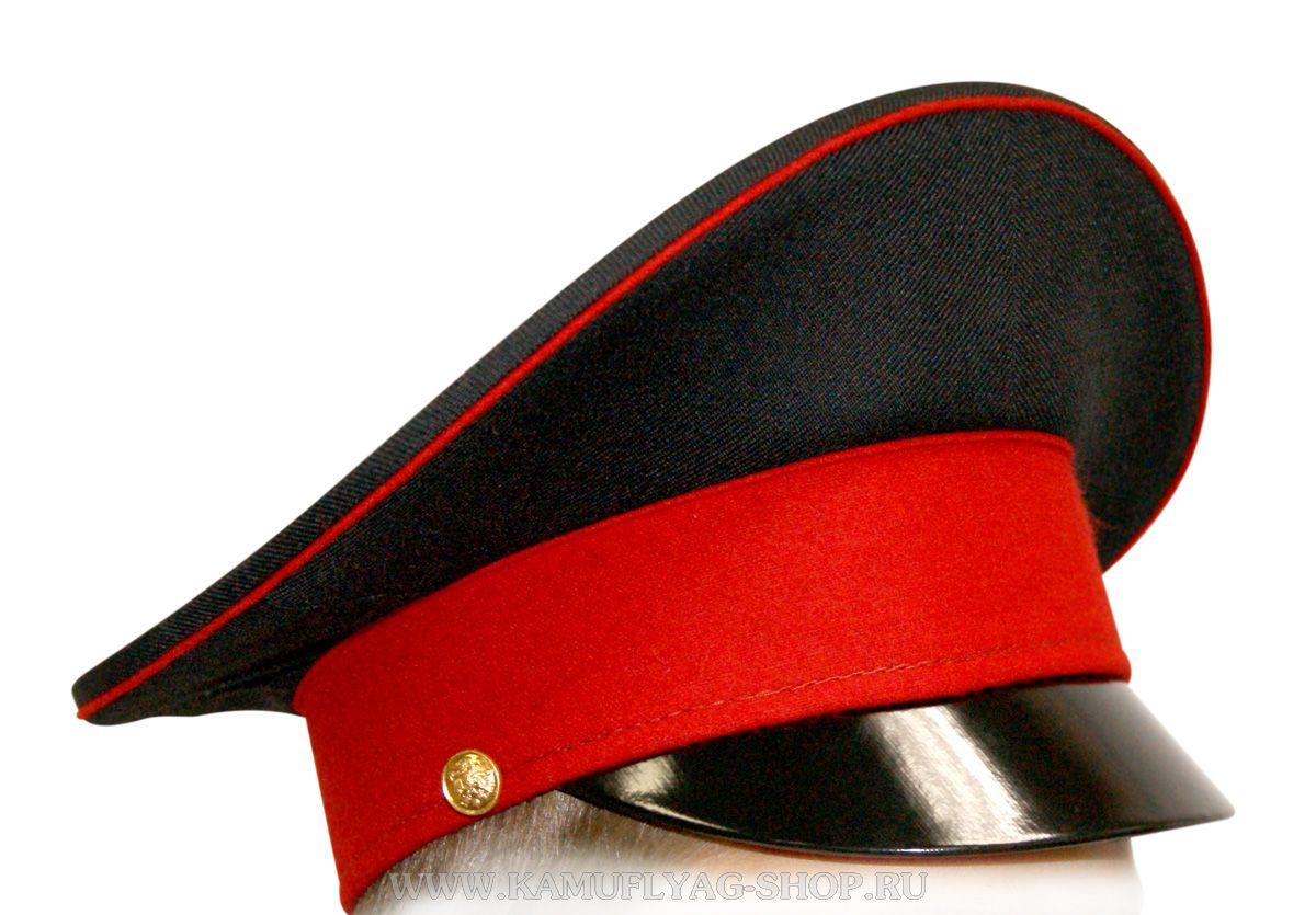 Фуражка черная, красный кант, красный околыш
