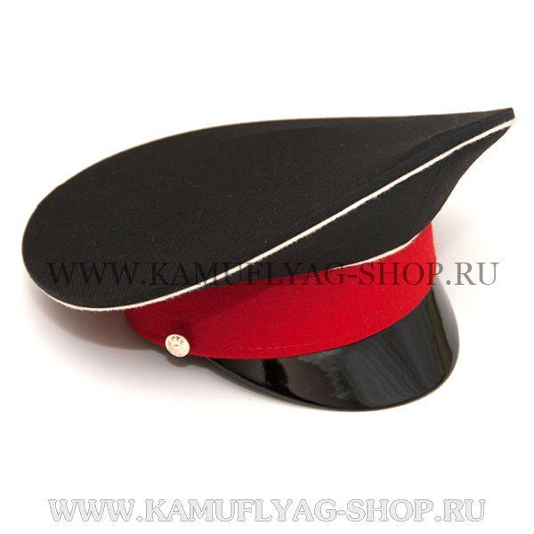 Фуражка черная, белый кант, красный околыш