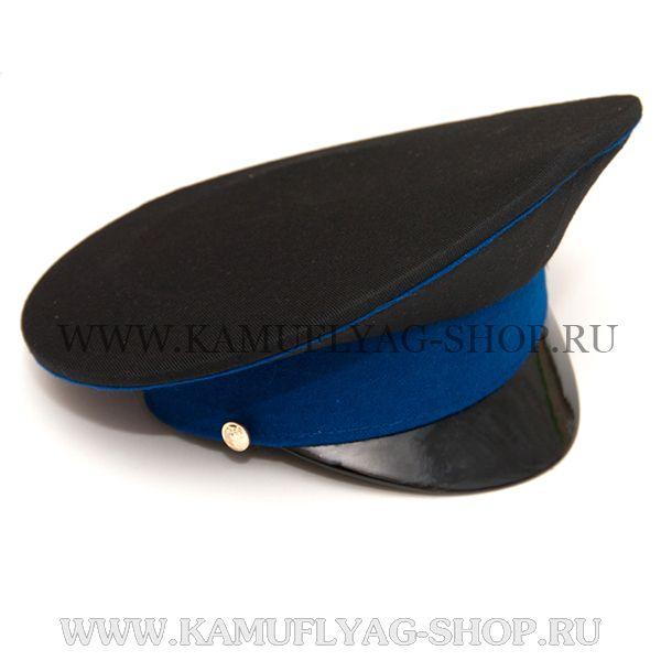 Фуражка черная, васильковый кант и околыш