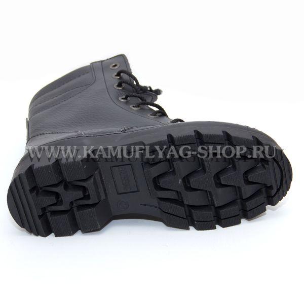 Ботинки с высокими берцами зимние черные, исскуств. мех