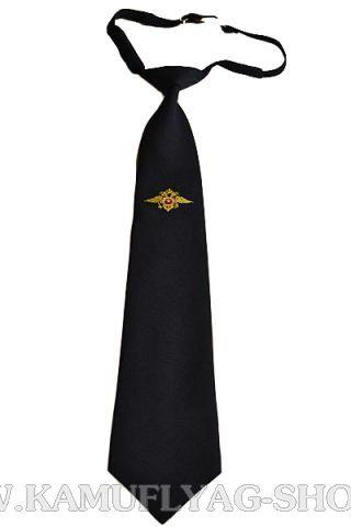 Галстук-регат с вышивкой укороченный, черный