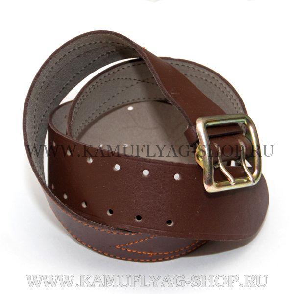 Ремень офицерский кожаный, коричневый