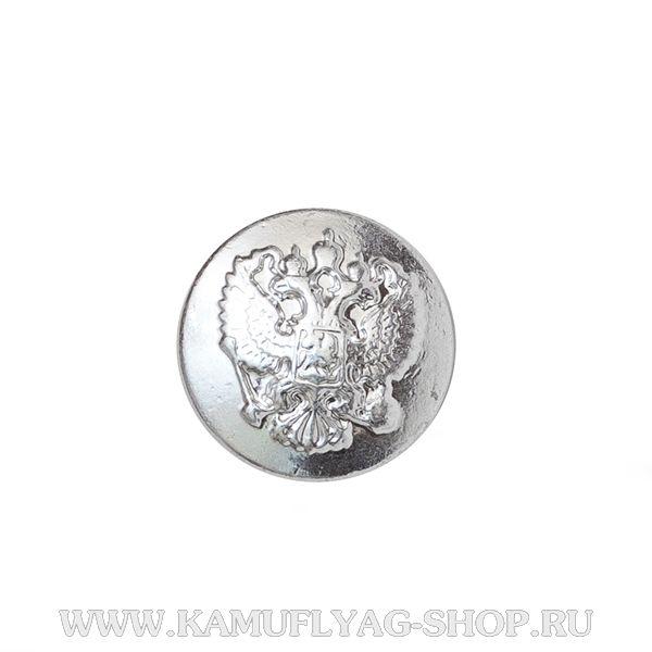 Пуговица 14 мм Орел РФ металлическая, серебряная