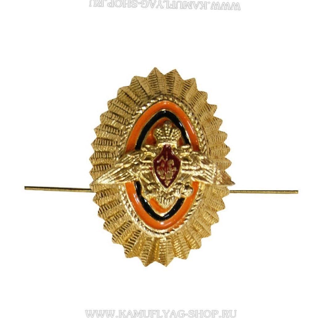 Кокарда металлическая ПВ, офицерский состав, рифленая, золотая