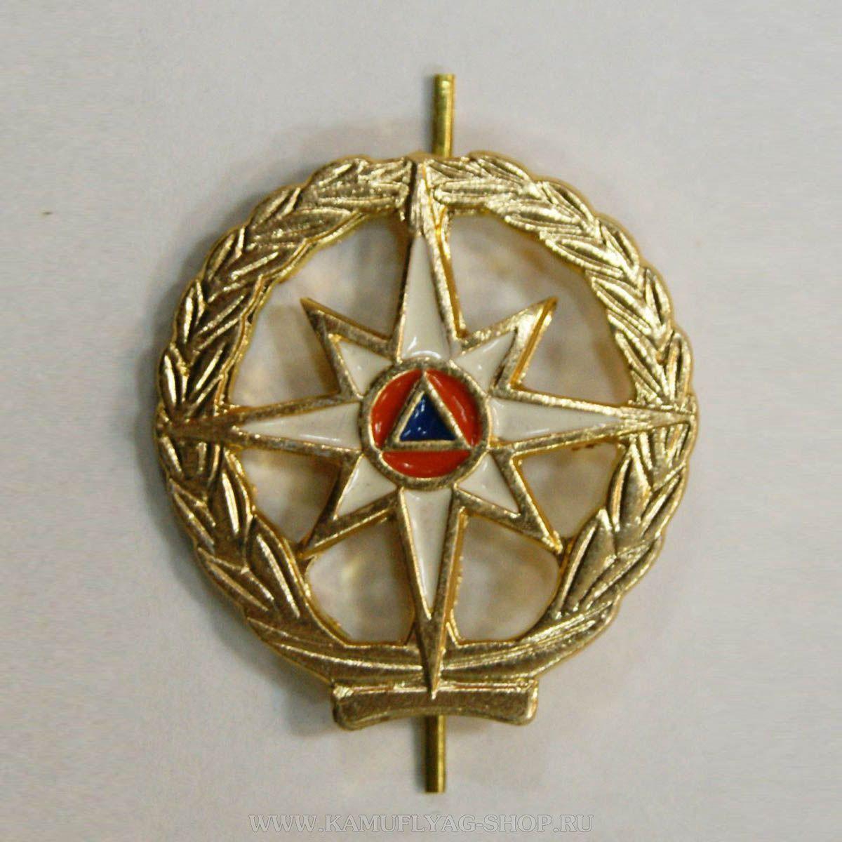 Эмблема петличная МЧС с просечками, золотая (шт.)