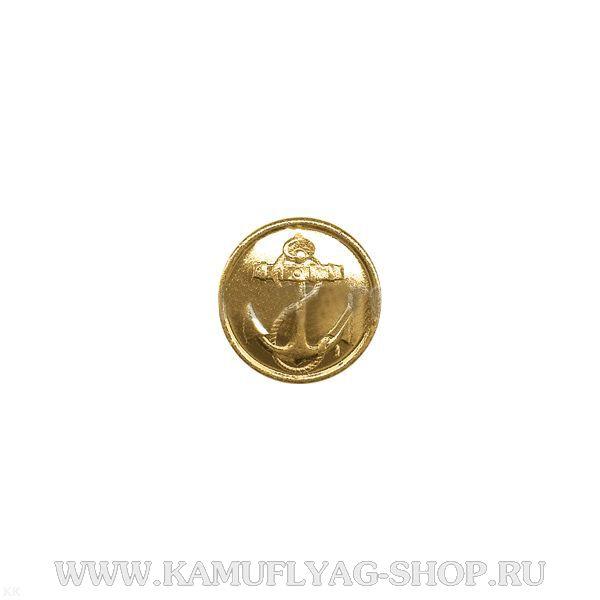 Пуговица 14 мм Якорь ВМФ металлическая, золотая