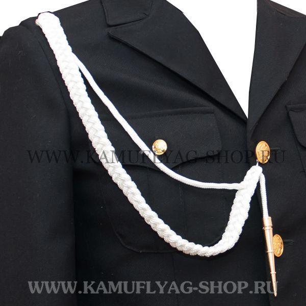 Аксельбант солдатский шелковый, белый с люрексной нитью