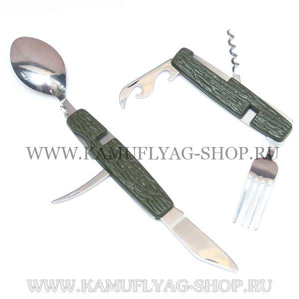 Нож складной с вилкой и ложкой