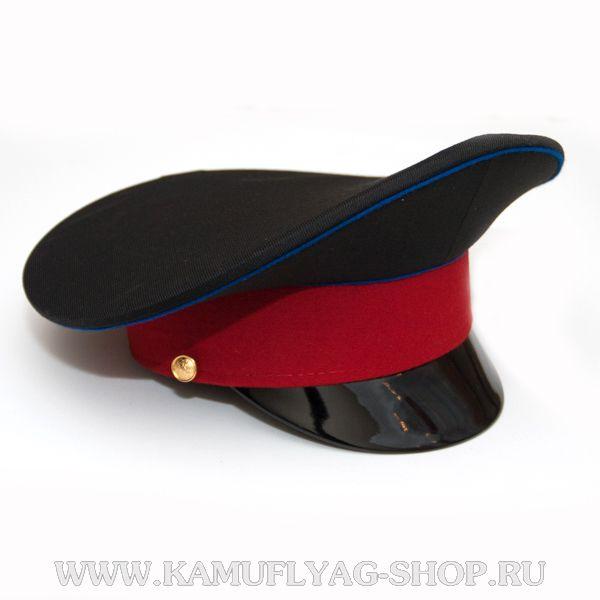 Фуражка черная, васильковый кант, красный околыш