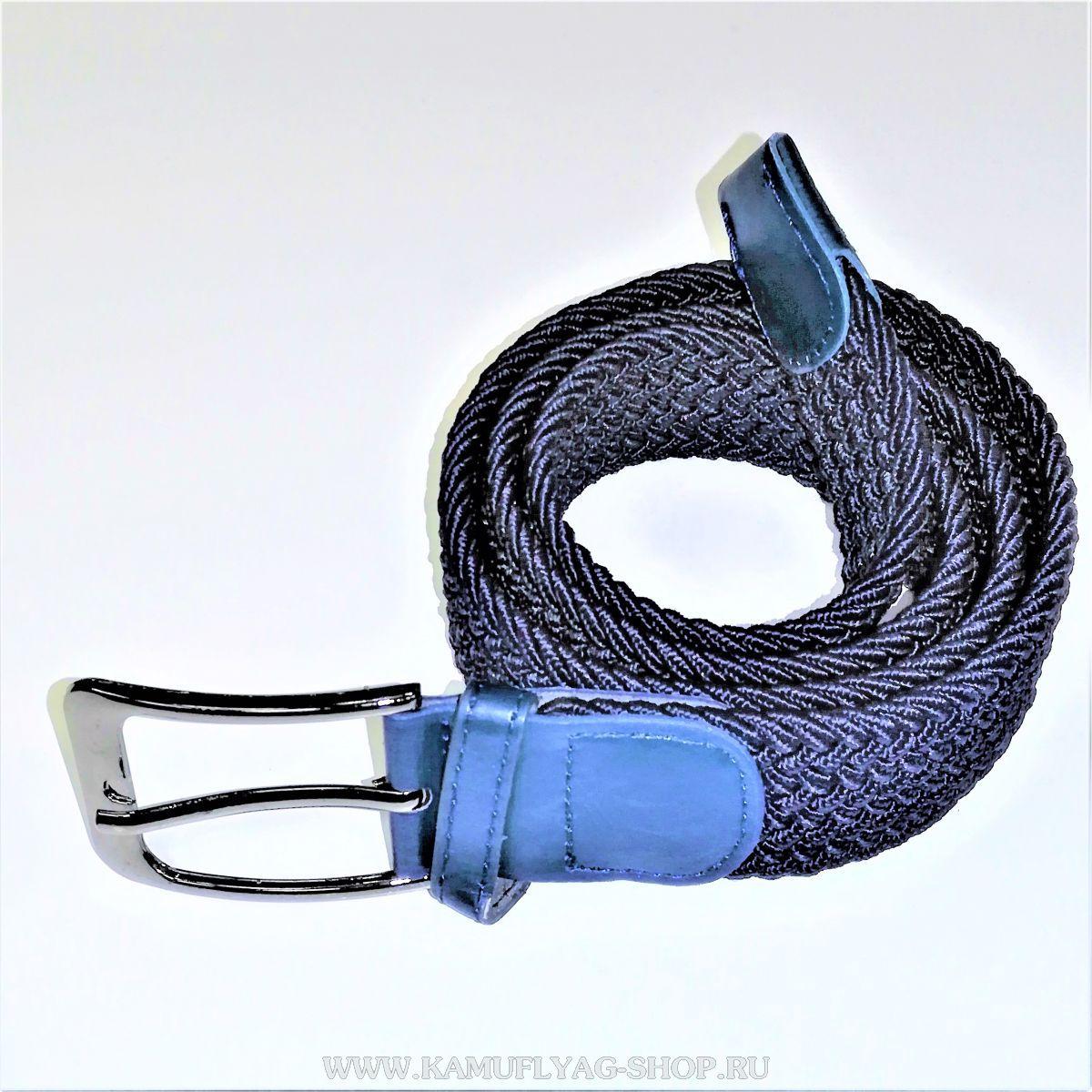 Ремень брючный плетеный тканевый, синий