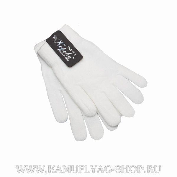 Перчатки вязаные однослойные, белые