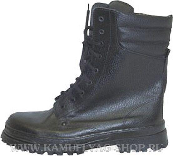 Ботинки с высокими берцами зимние черные, натур. мех